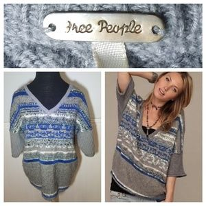 Free People Blue & Grey Sequin Dolman Sweater